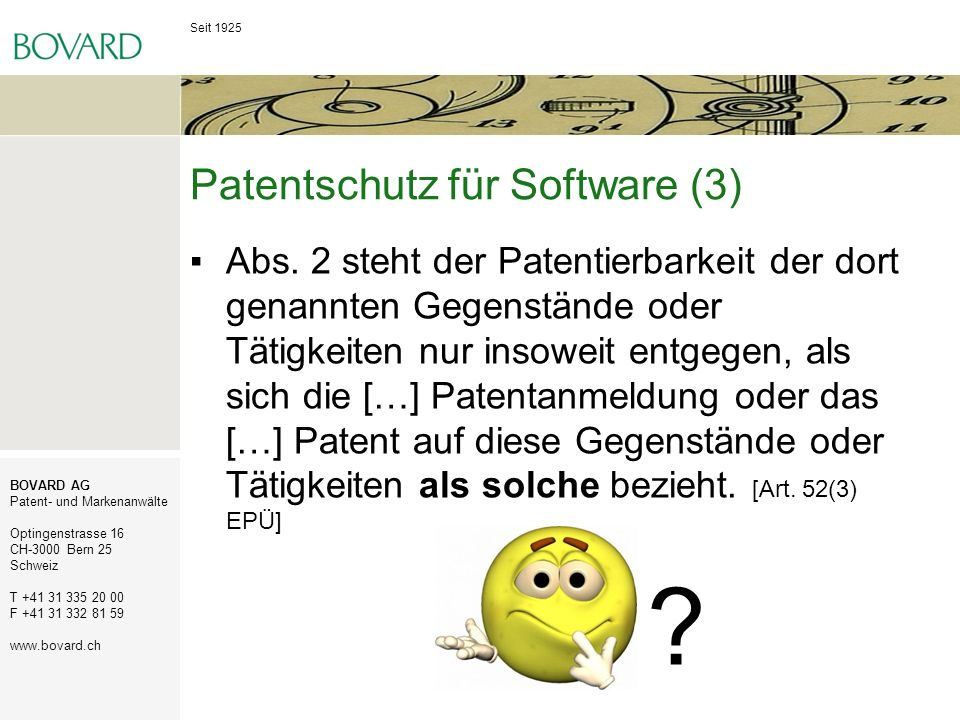 Patentschutz für Software (3)