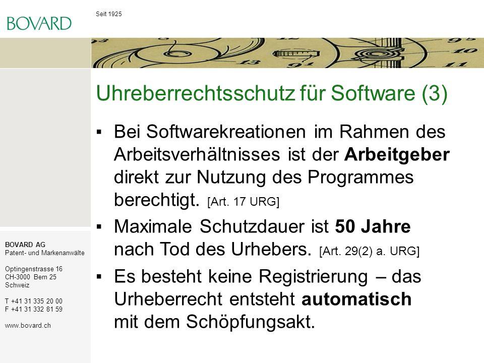 Uhreberrechtsschutz für Software (3)
