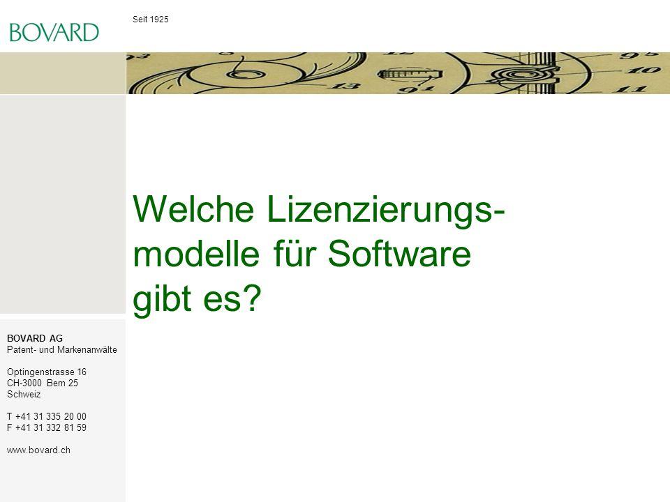 Welche Lizenzierungs-modelle für Software gibt es