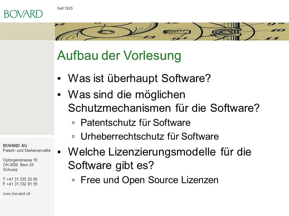 Aufbau der Vorlesung Was ist überhaupt Software