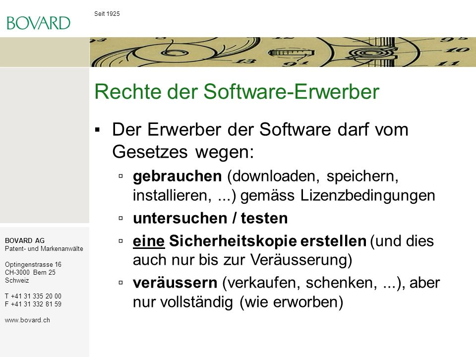 Rechte der Software-Erwerber
