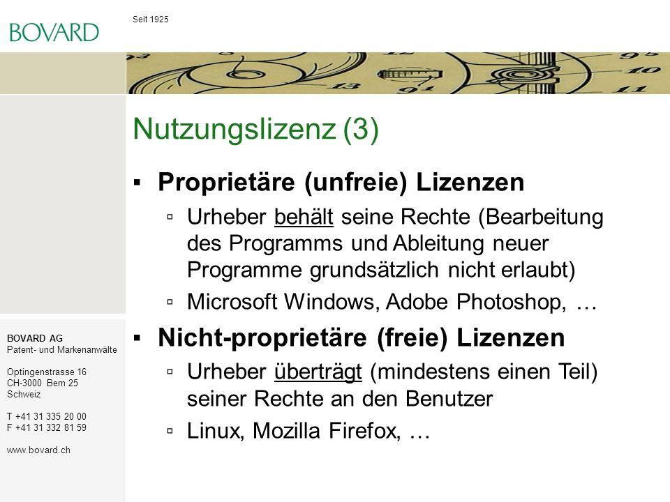 Nutzungslizenz (3) Proprietäre (unfreie) Lizenzen