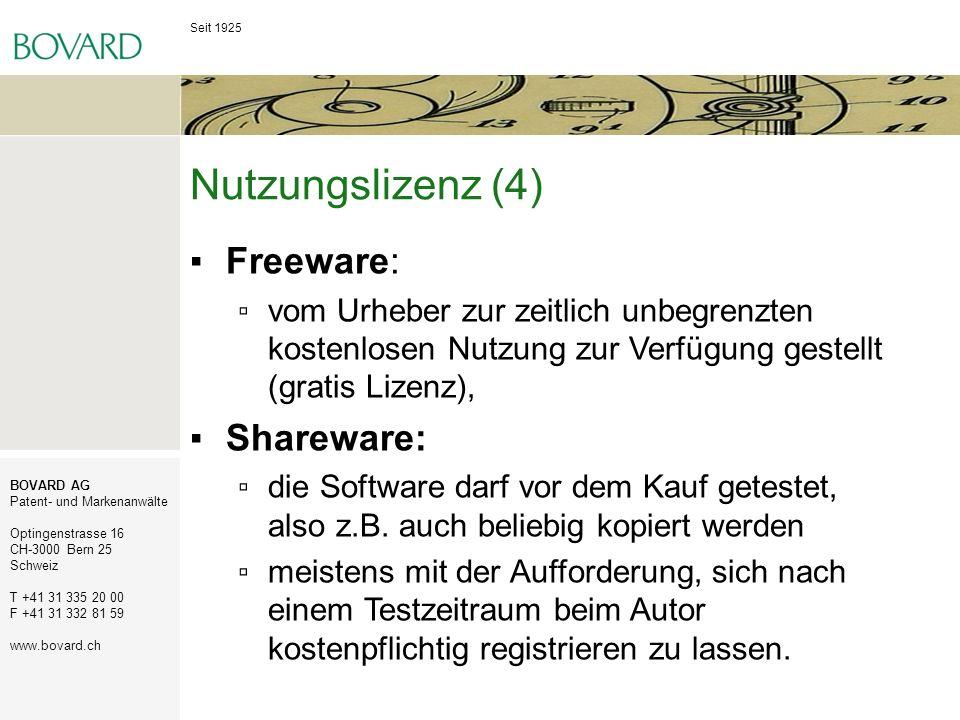 Nutzungslizenz (4) Freeware: Shareware: