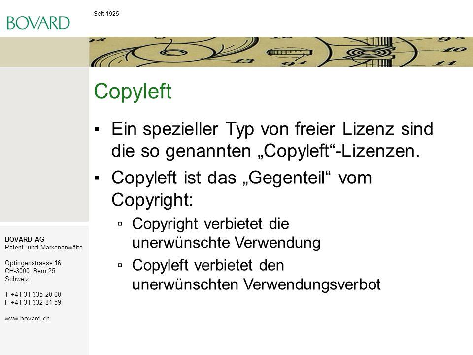 """Copyleft Ein spezieller Typ von freier Lizenz sind die so genannten """"Copyleft -Lizenzen. Copyleft ist das """"Gegenteil vom Copyright:"""
