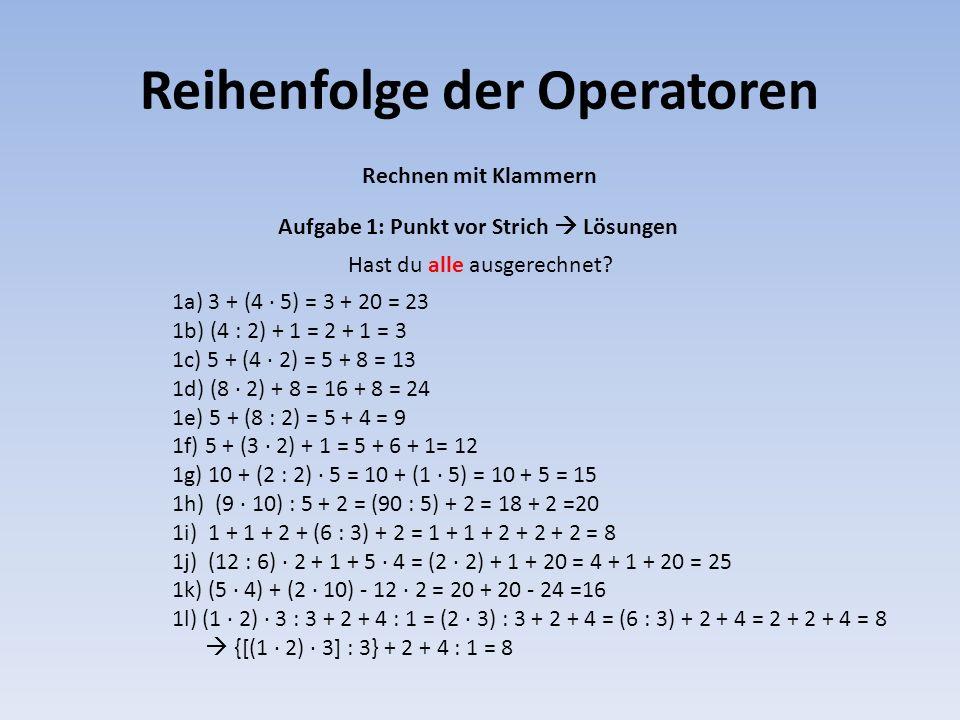 Reihenfolge der Operatoren
