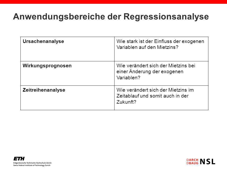 Anwendungsbereiche der Regressionsanalyse