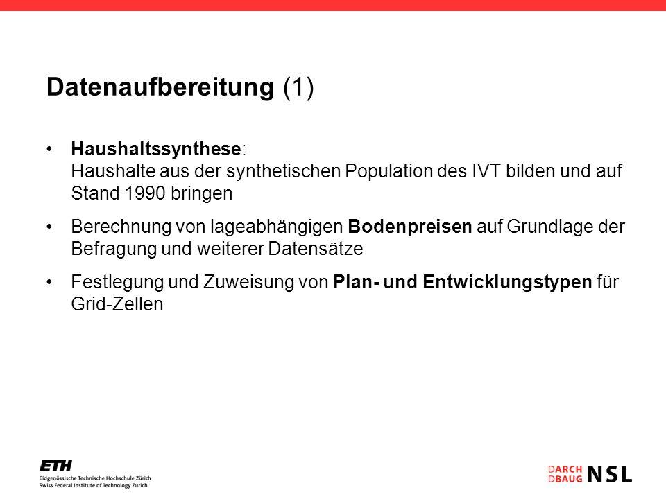 Datenaufbereitung (1) Haushaltssynthese: Haushalte aus der synthetischen Population des IVT bilden und auf Stand 1990 bringen.