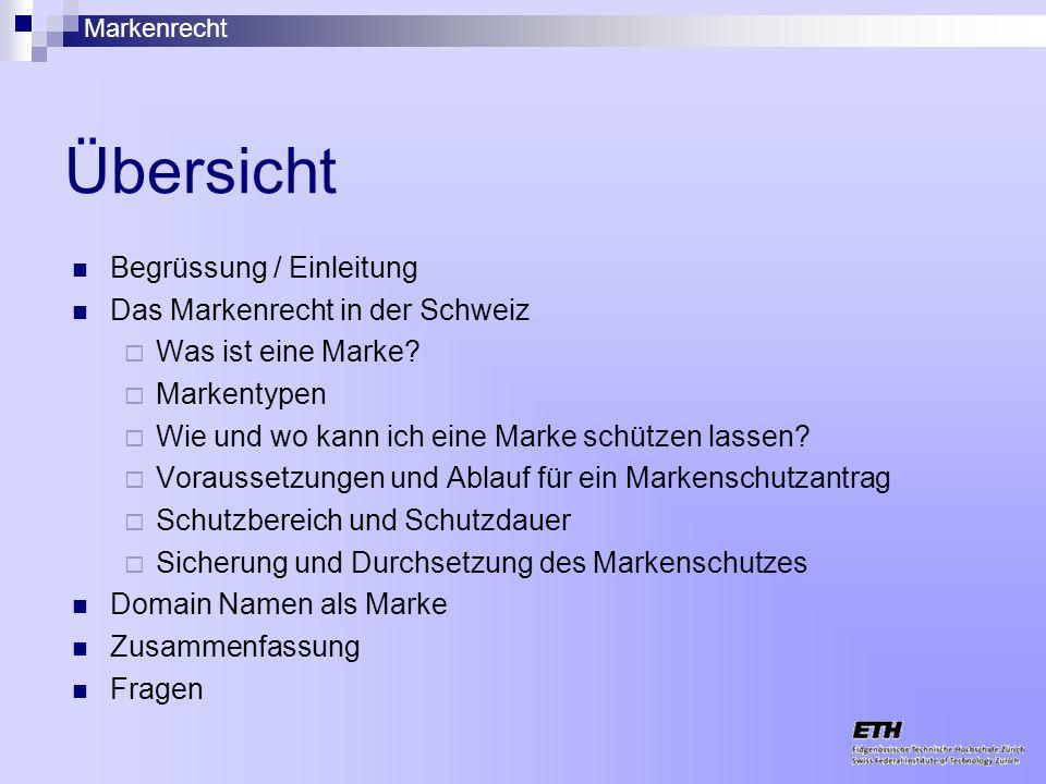 Übersicht Begrüssung / Einleitung Das Markenrecht in der Schweiz