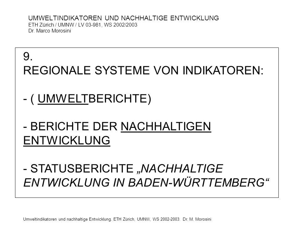 9. REGIONALE SYSTEME VON INDIKATOREN: