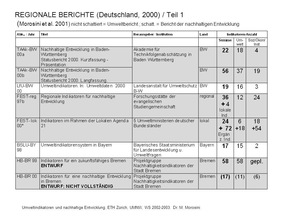 REGIONALE BERICHTE (Deutschland, 2000) / Teil 1 (Morosini et al