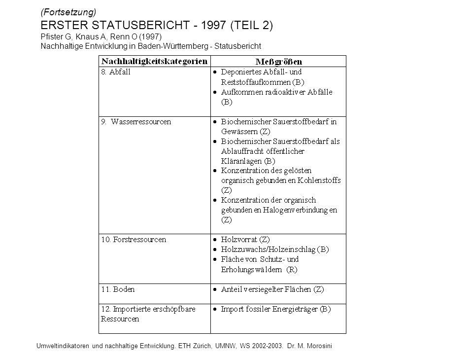 (Fortsetzung) ERSTER STATUSBERICHT - 1997 (TEIL 2) Pfister G, Knaus A, Renn O (1997) Nachhaltige Entwicklung in Baden-Württemberg - Statusbericht