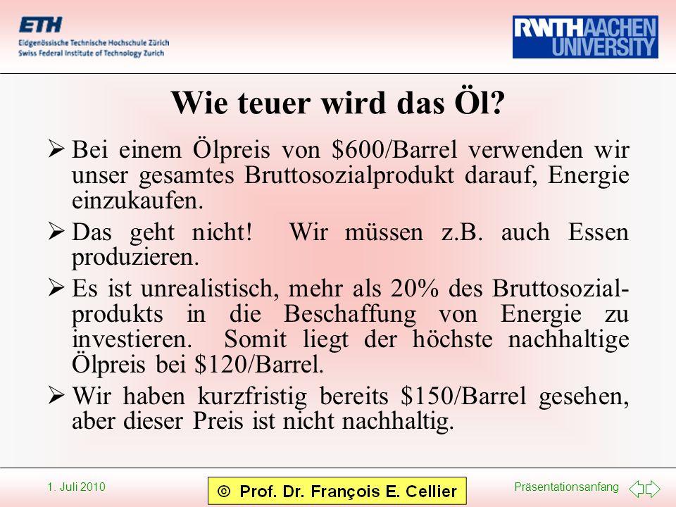 Wie teuer wird das Öl Bei einem Ölpreis von $600/Barrel verwenden wir unser gesamtes Bruttosozialprodukt darauf, Energie einzukaufen.