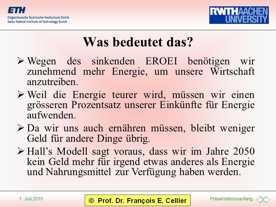Was bedeutet das Wegen des sinkenden EROEI benötigen wir zunehmend mehr Energie, um unsere Wirtschaft anzutreiben.