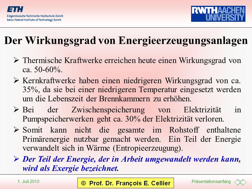 Der Wirkungsgrad von Energieerzeugungsanlagen