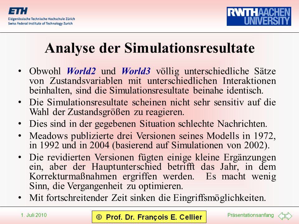 Analyse der Simulationsresultate