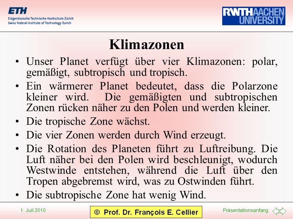 KlimazonenUnser Planet verfügt über vier Klimazonen: polar, gemäßigt, subtropisch und tropisch.