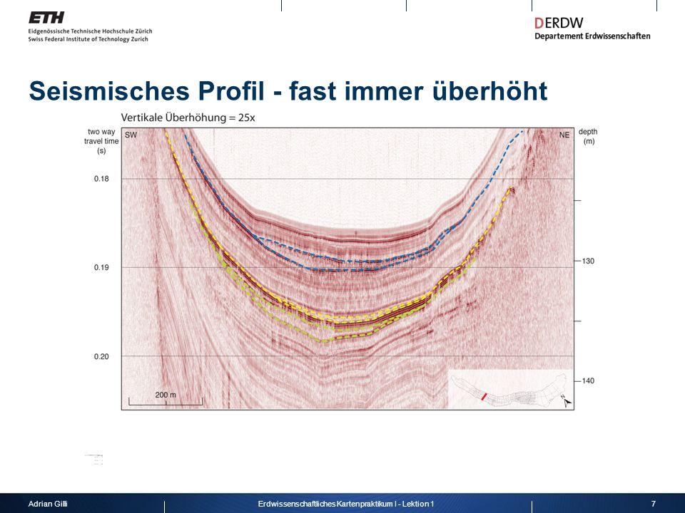 Seismisches Profil - fast immer überhöht