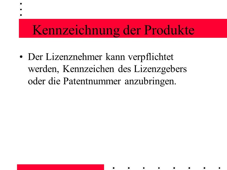 Kennzeichnung der Produkte