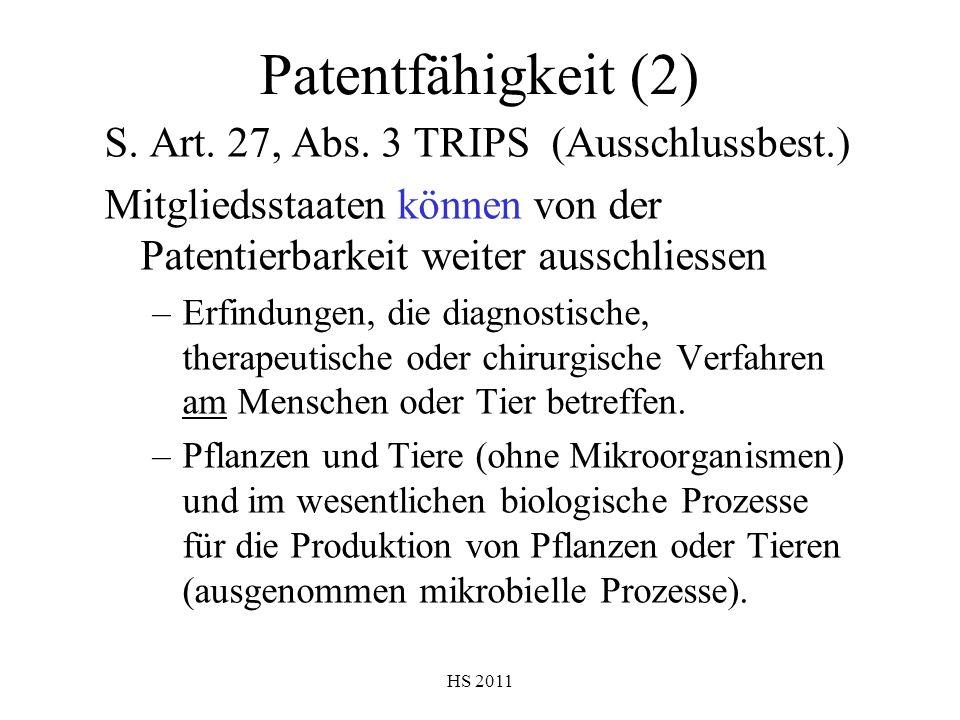 Patentfähigkeit (2) S. Art. 27, Abs. 3 TRIPS (Ausschlussbest.)