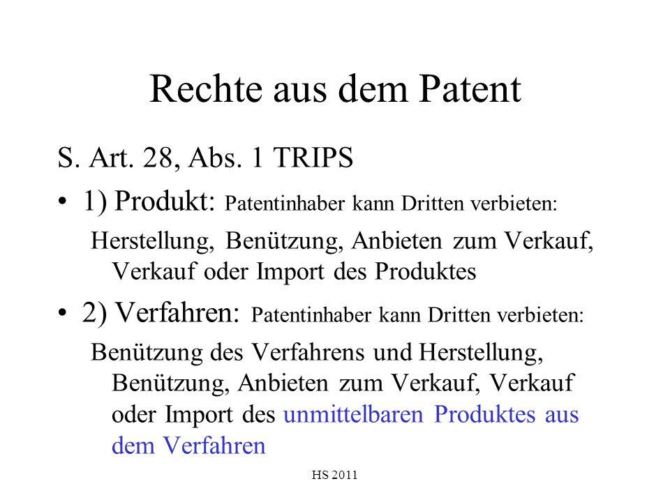 Rechte aus dem Patent S. Art. 28, Abs. 1 TRIPS