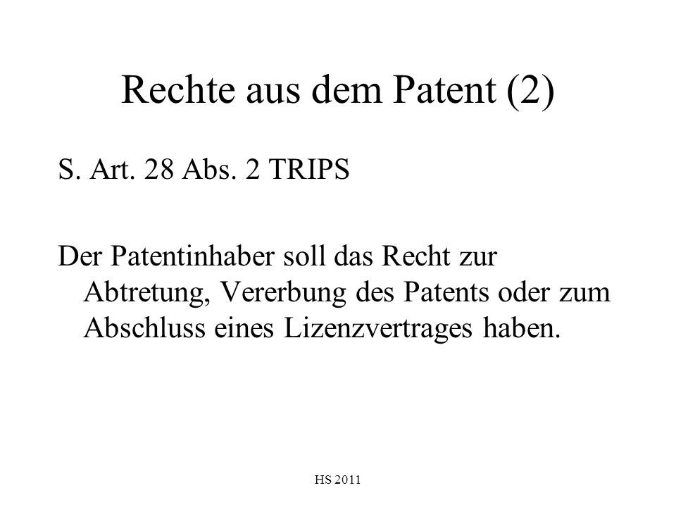 Rechte aus dem Patent (2)