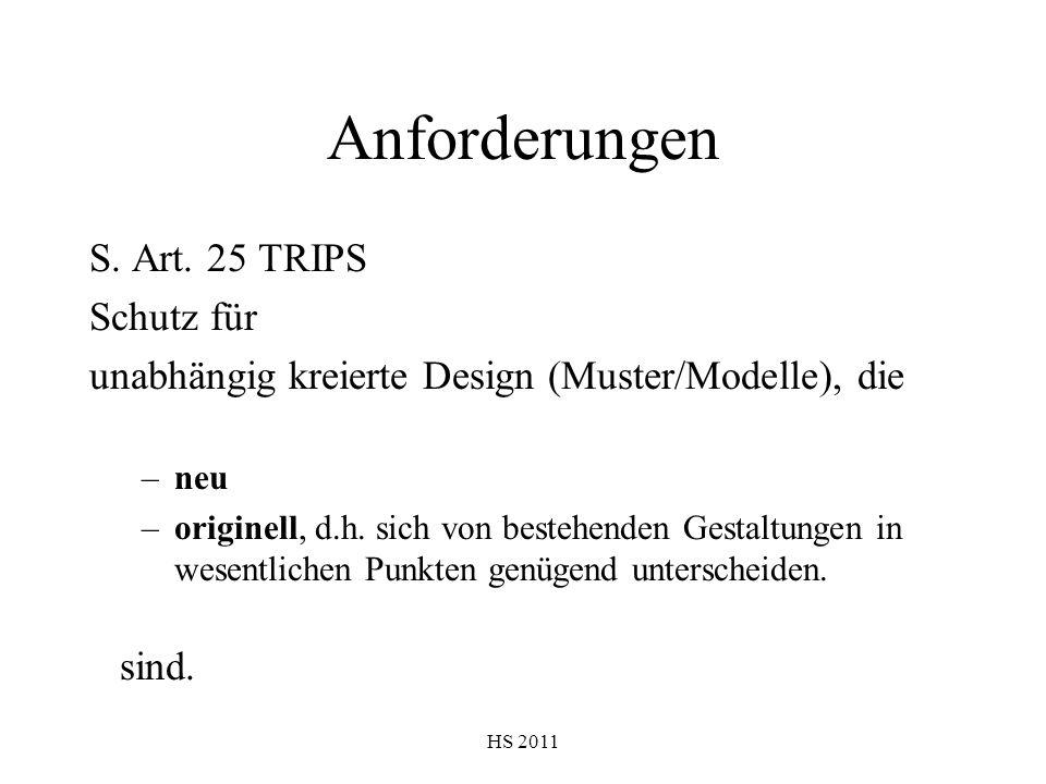Anforderungen S. Art. 25 TRIPS Schutz für