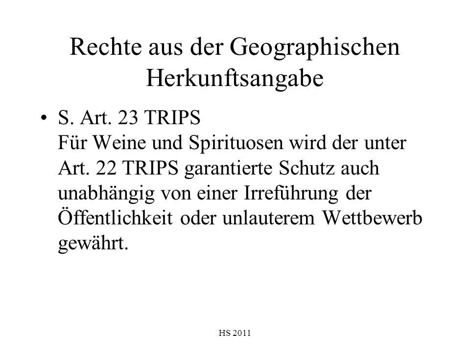 Rechte aus der Geographischen Herkunftsangabe