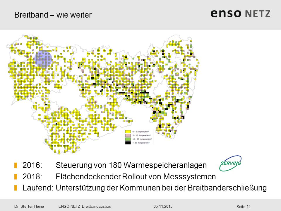 Breitband – wie weiter 2016: Steuerung von 180 Wärmespeicheranlagen. 2018: Flächendeckender Rollout von Messsystemen.