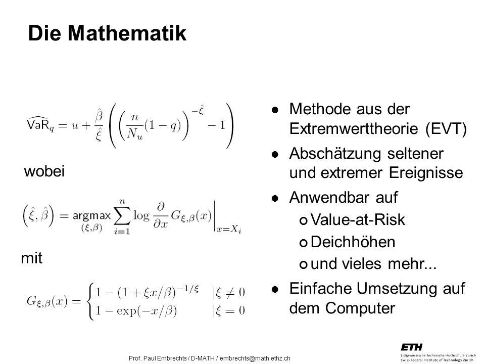 Die Mathematik Methode aus der Extremwerttheorie (EVT)