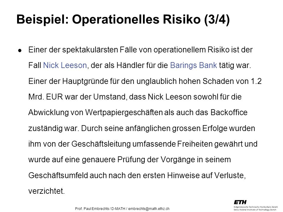 Beispiel: Operationelles Risiko (3/4)