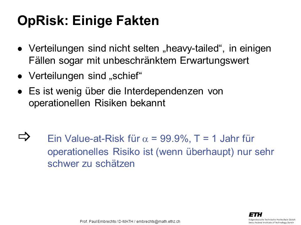 """OpRisk: Einige Fakten Verteilungen sind nicht selten """"heavy-tailed , in einigen Fällen sogar mit unbeschränktem Erwartungswert."""
