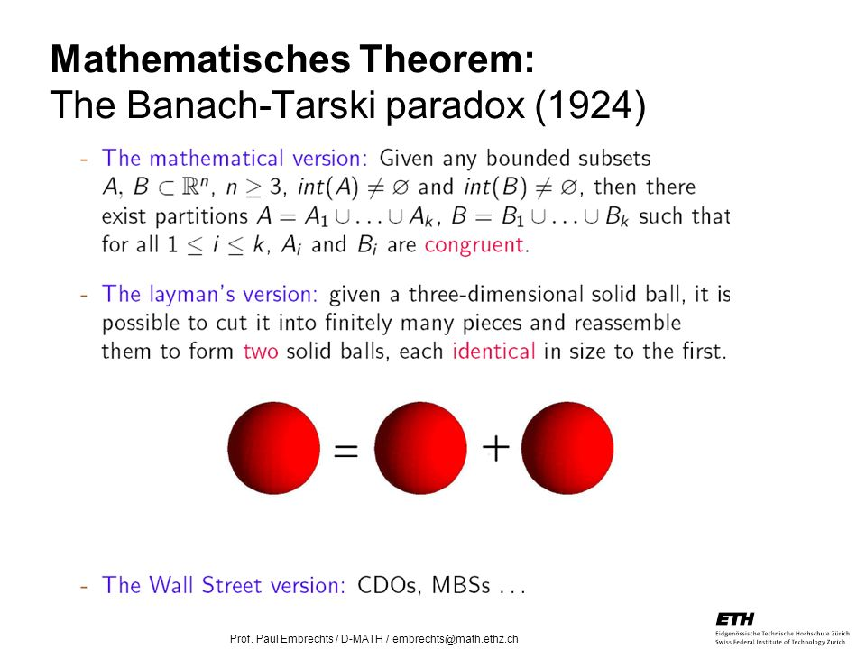 Mathematisches Theorem: The Banach-Tarski paradox (1924)