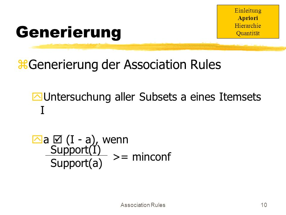 Generierung Generierung der Association Rules