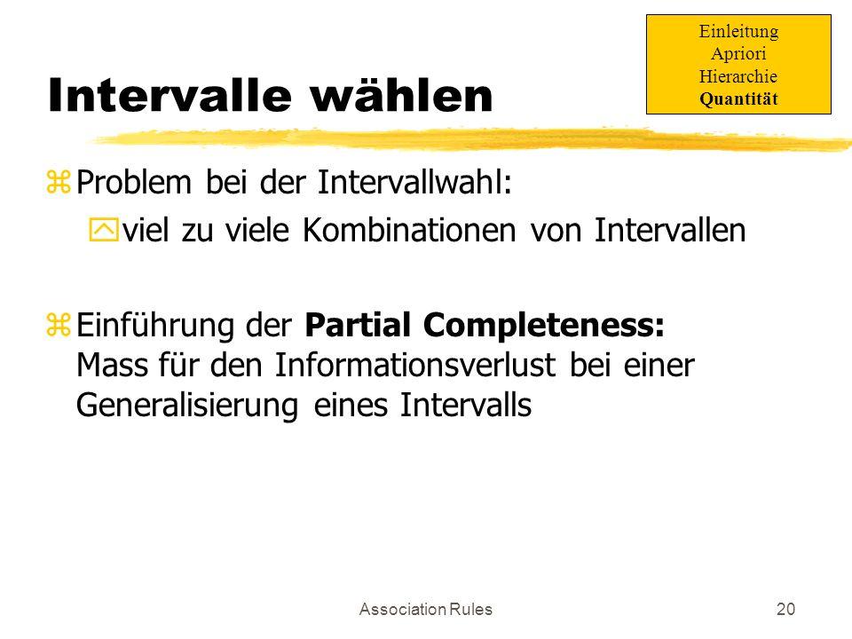 Intervalle wählen Problem bei der Intervallwahl: