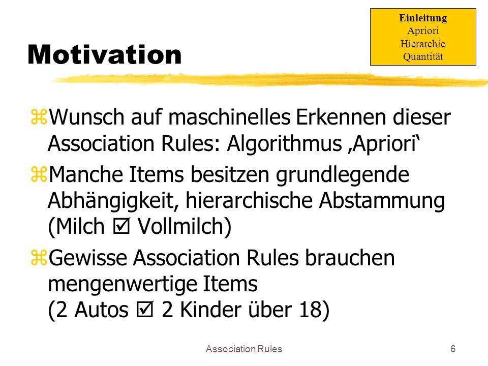 Einleitung Apriori. Hierarchie. Quantität. Motivation. Wunsch auf maschinelles Erkennen dieser Association Rules: Algorithmus 'Apriori'