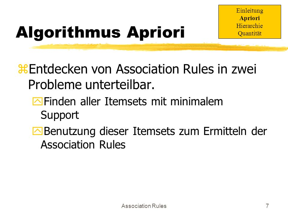 Einleitung Apriori. Hierarchie. Quantität. Algorithmus Apriori. Entdecken von Association Rules in zwei Probleme unterteilbar.