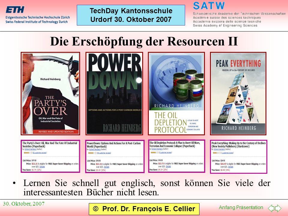 Die Erschöpfung der Resourcen II