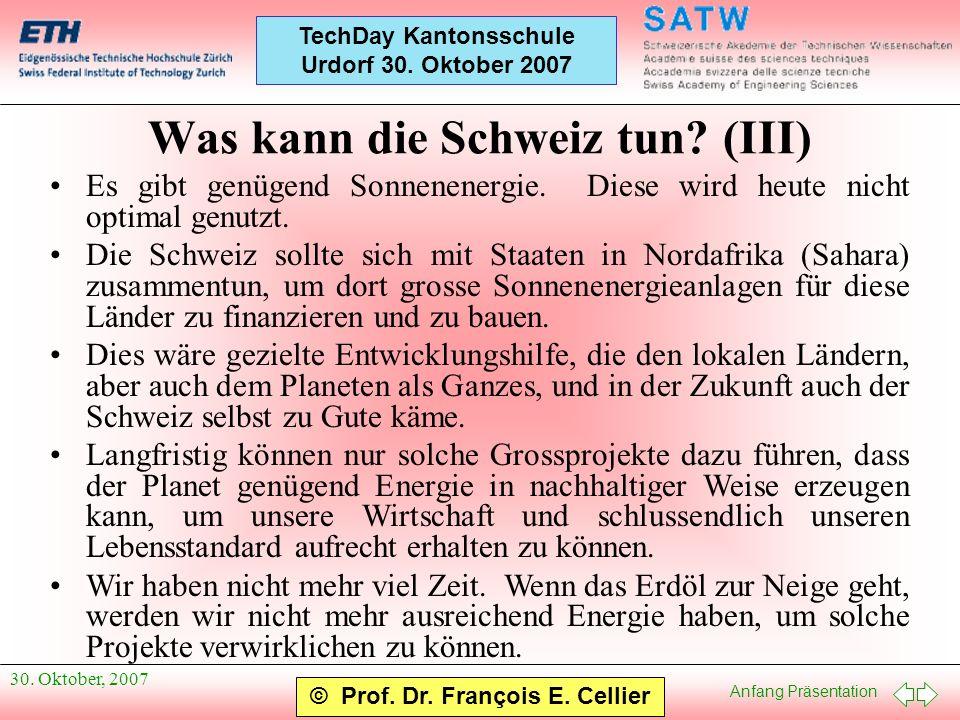 Was kann die Schweiz tun (III)