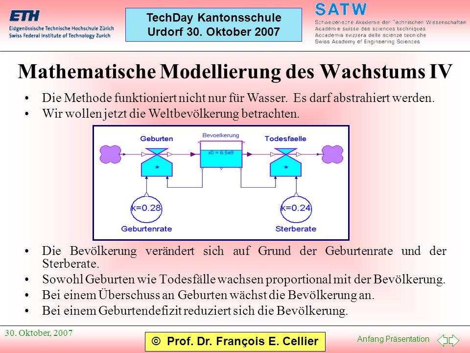 Mathematische Modellierung des Wachstums IV