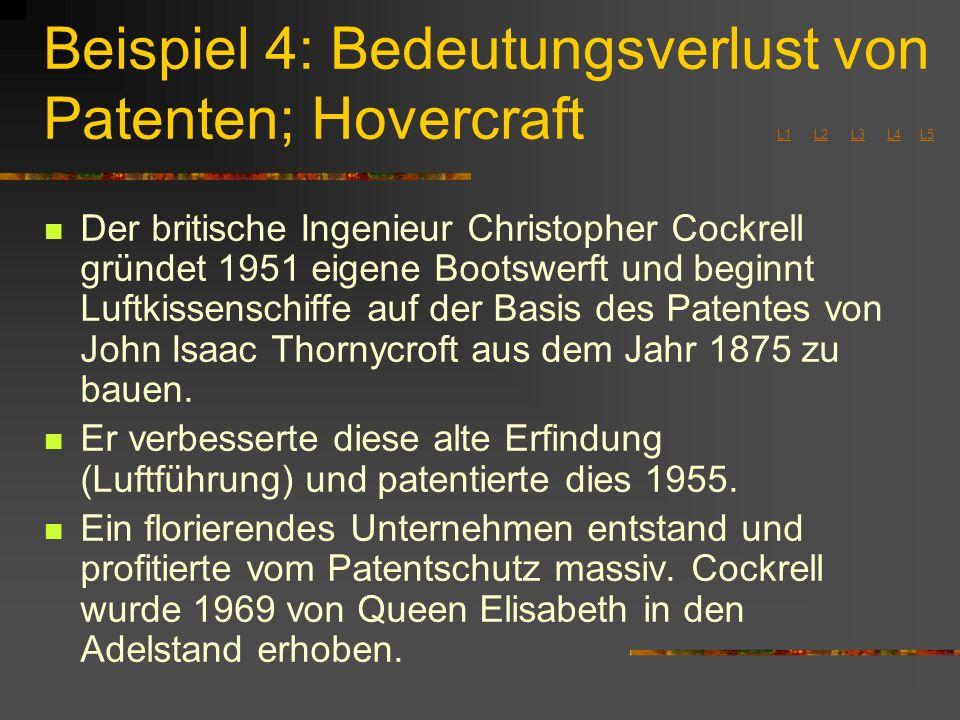 Beispiel 4: Bedeutungsverlust von Patenten; Hovercraft L1 L2 L3 L4 L5