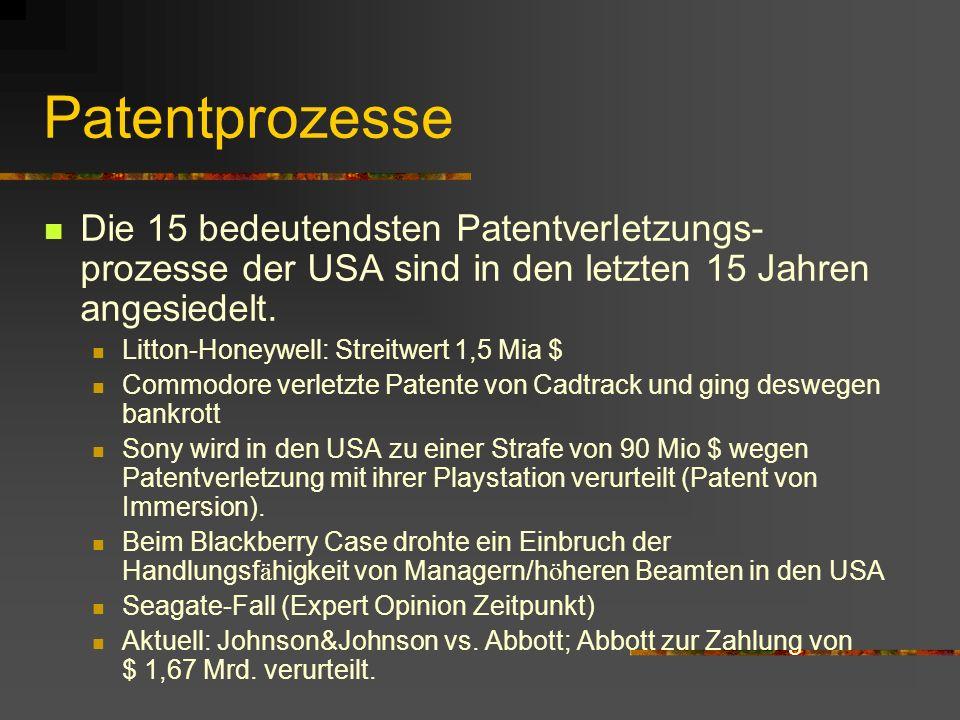 PatentprozesseDie 15 bedeutendsten Patentverletzungs- prozesse der USA sind in den letzten 15 Jahren angesiedelt.