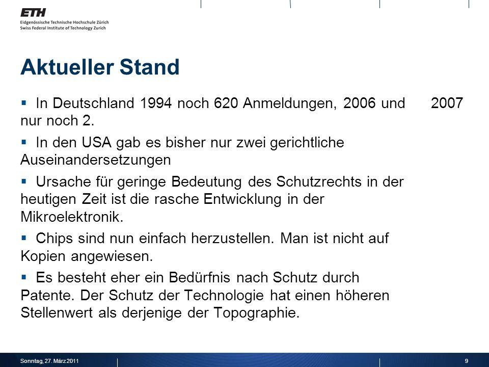 Aktueller StandIn Deutschland 1994 noch 620 Anmeldungen, 2006 und 2007 nur noch 2.