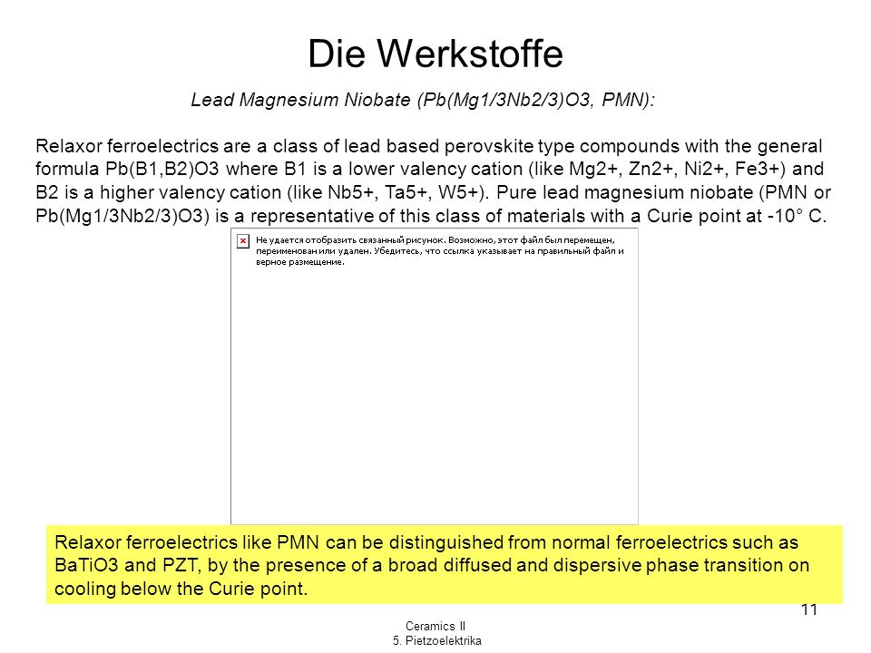 Die Werkstoffe Lead Magnesium Niobate (Pb(Mg1/3Nb2/3)O3, PMN):