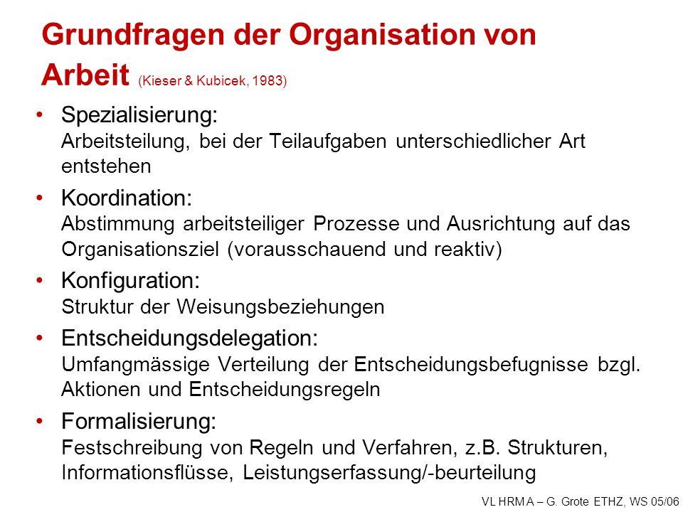 Grundfragen der Organisation von Arbeit (Kieser & Kubicek, 1983)
