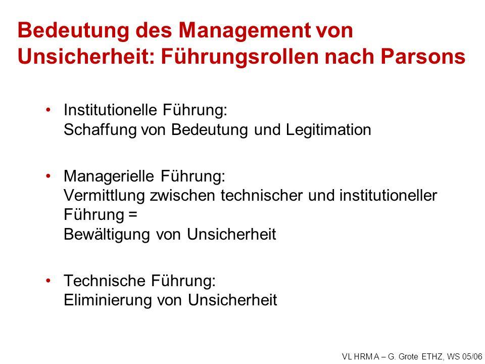Bedeutung des Management von Unsicherheit: Führungsrollen nach Parsons