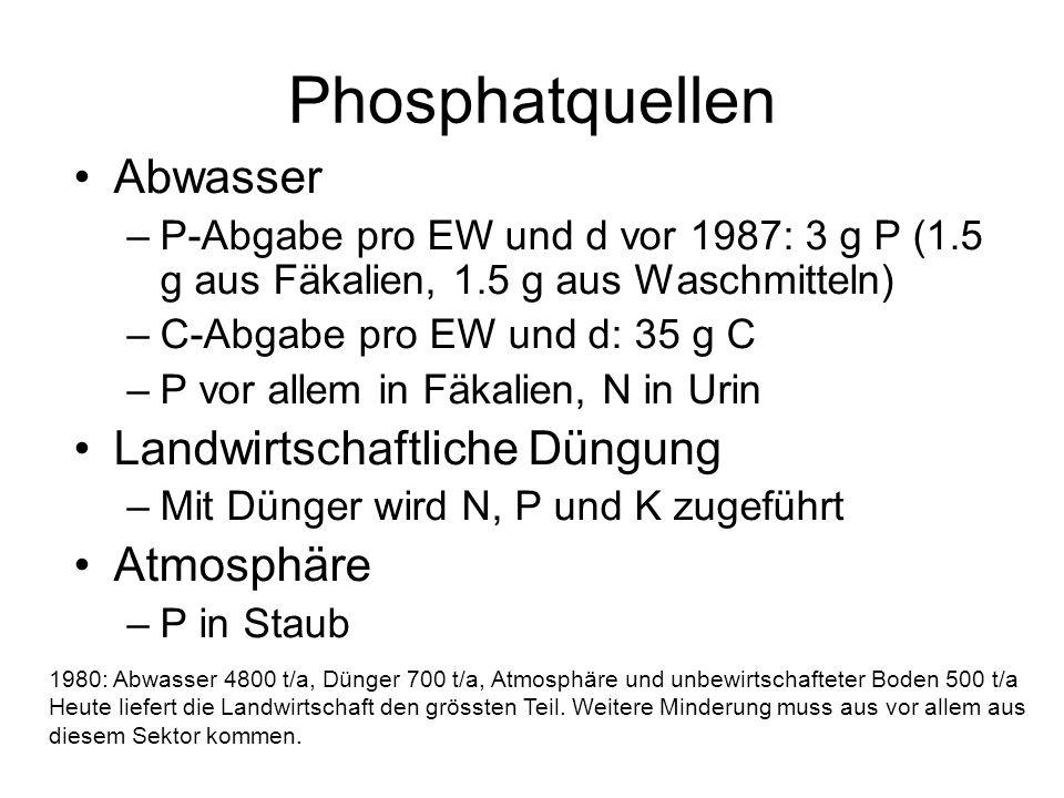Phosphatquellen Abwasser Landwirtschaftliche Düngung Atmosphäre