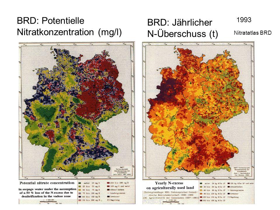 BRD: Potentielle Nitratkonzentration (mg/l)