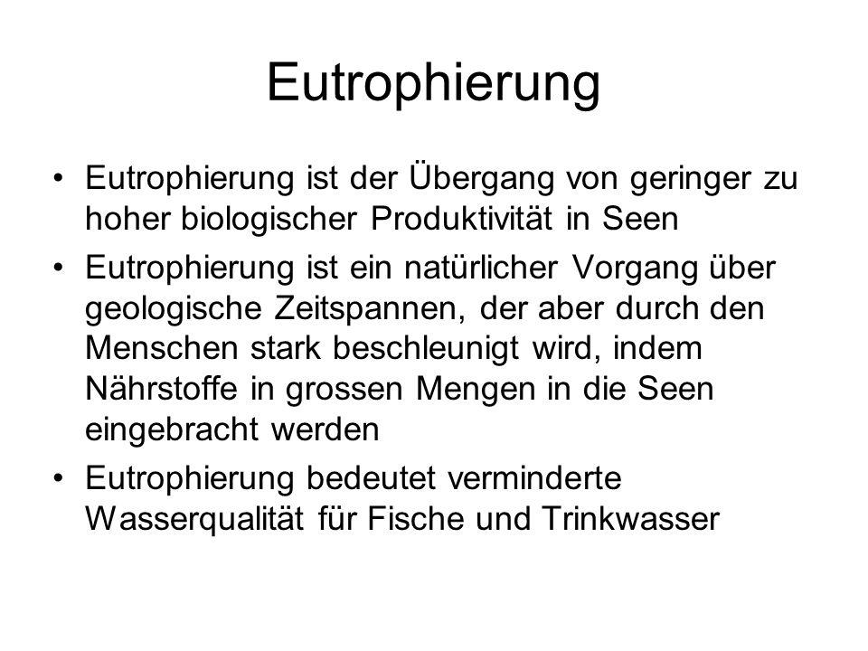 Eutrophierung Eutrophierung ist der Übergang von geringer zu hoher biologischer Produktivität in Seen.