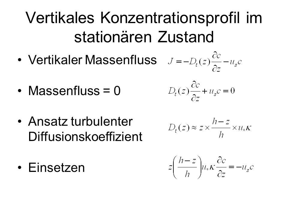 Vertikales Konzentrationsprofil im stationären Zustand