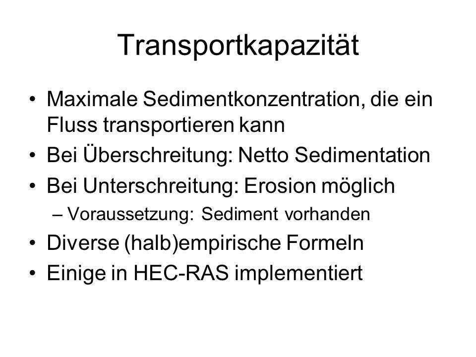 Transportkapazität Maximale Sedimentkonzentration, die ein Fluss transportieren kann. Bei Überschreitung: Netto Sedimentation.